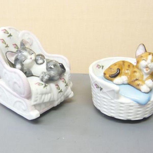 加籐工芸 陶器製 猫 オルゴール